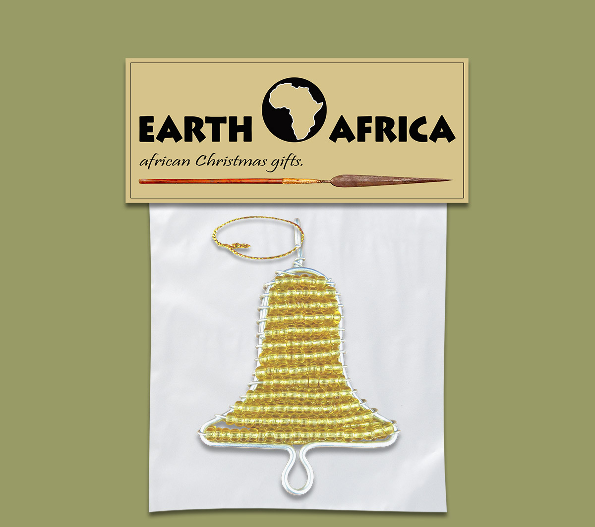 African Beaded Christmas Bell X1