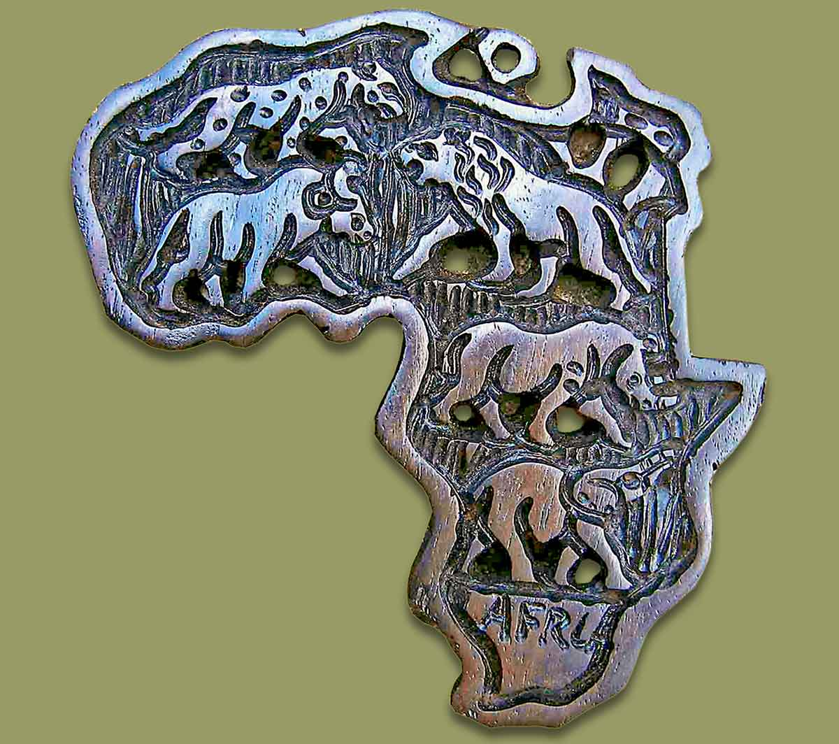 Africa Map Ebony Wood Large