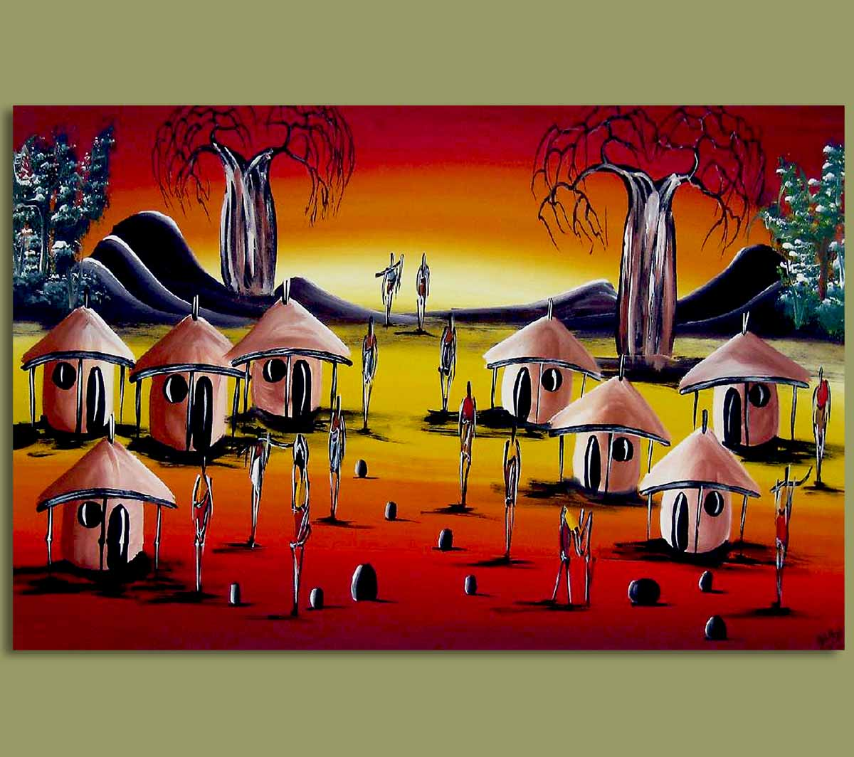 African Art Originals African Art Village Sunset