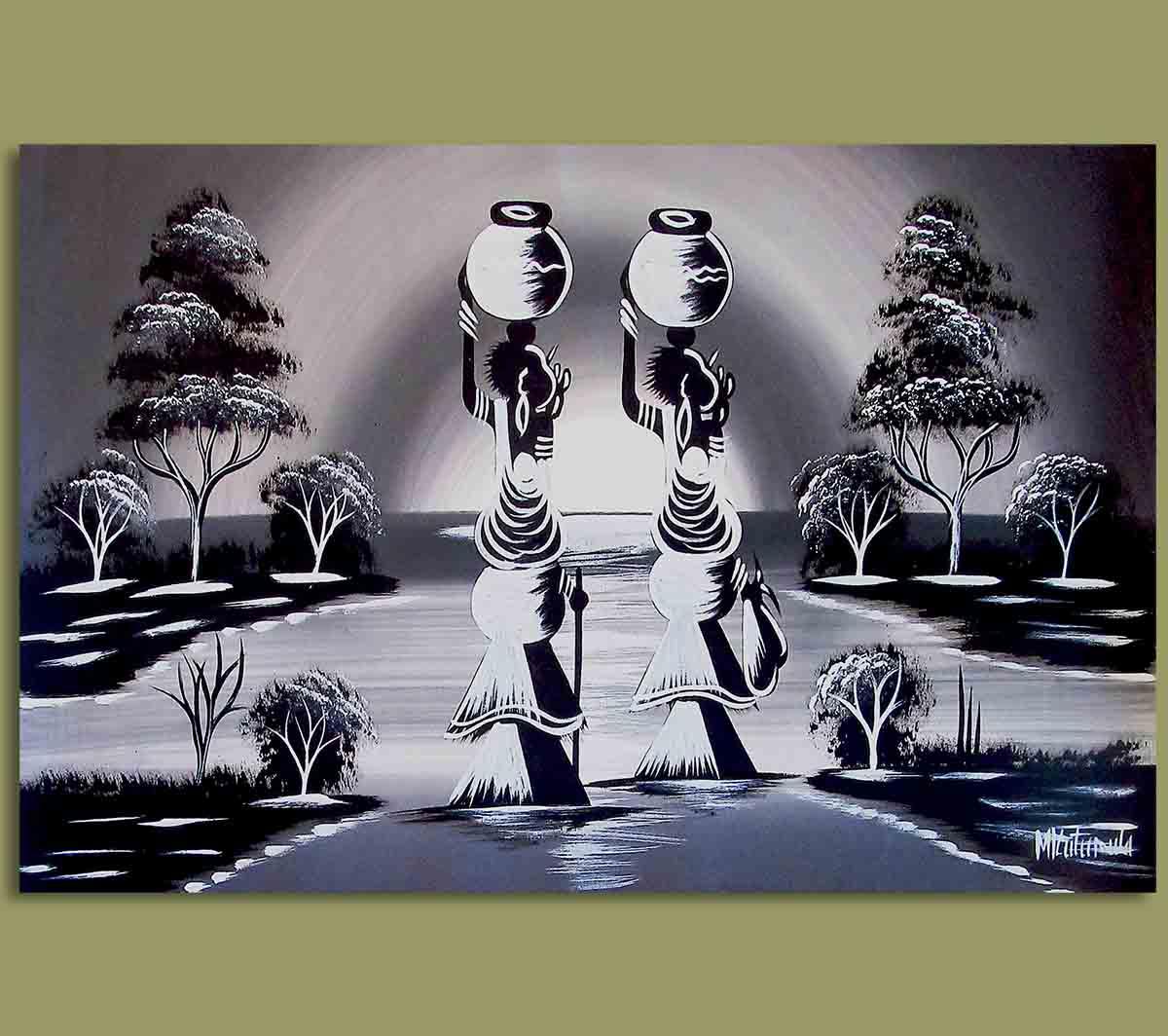 African Art Originals African Art Woman Water Carriers 1