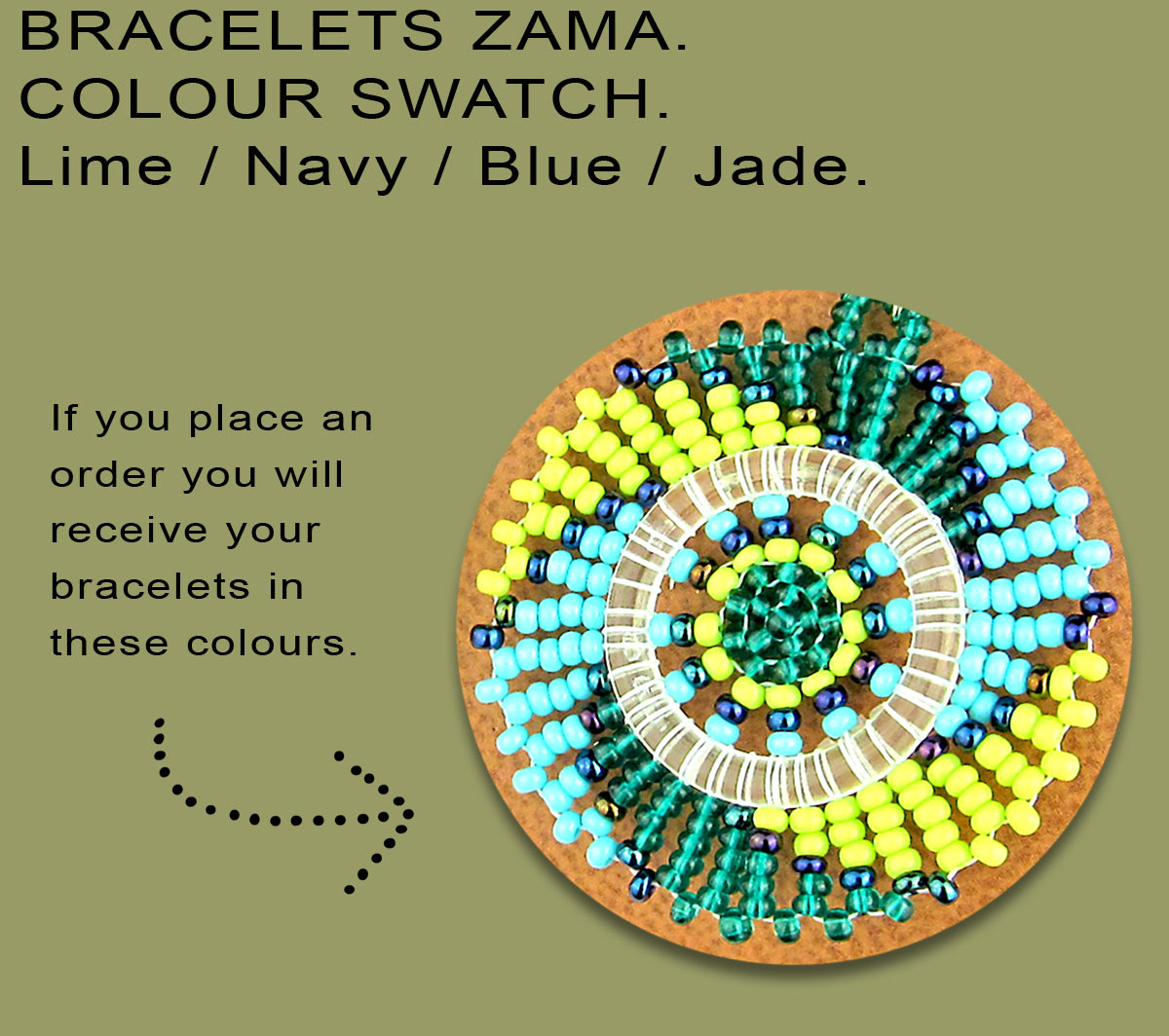 African Beaded Bracelets Zama Lime Navy Blue Jade