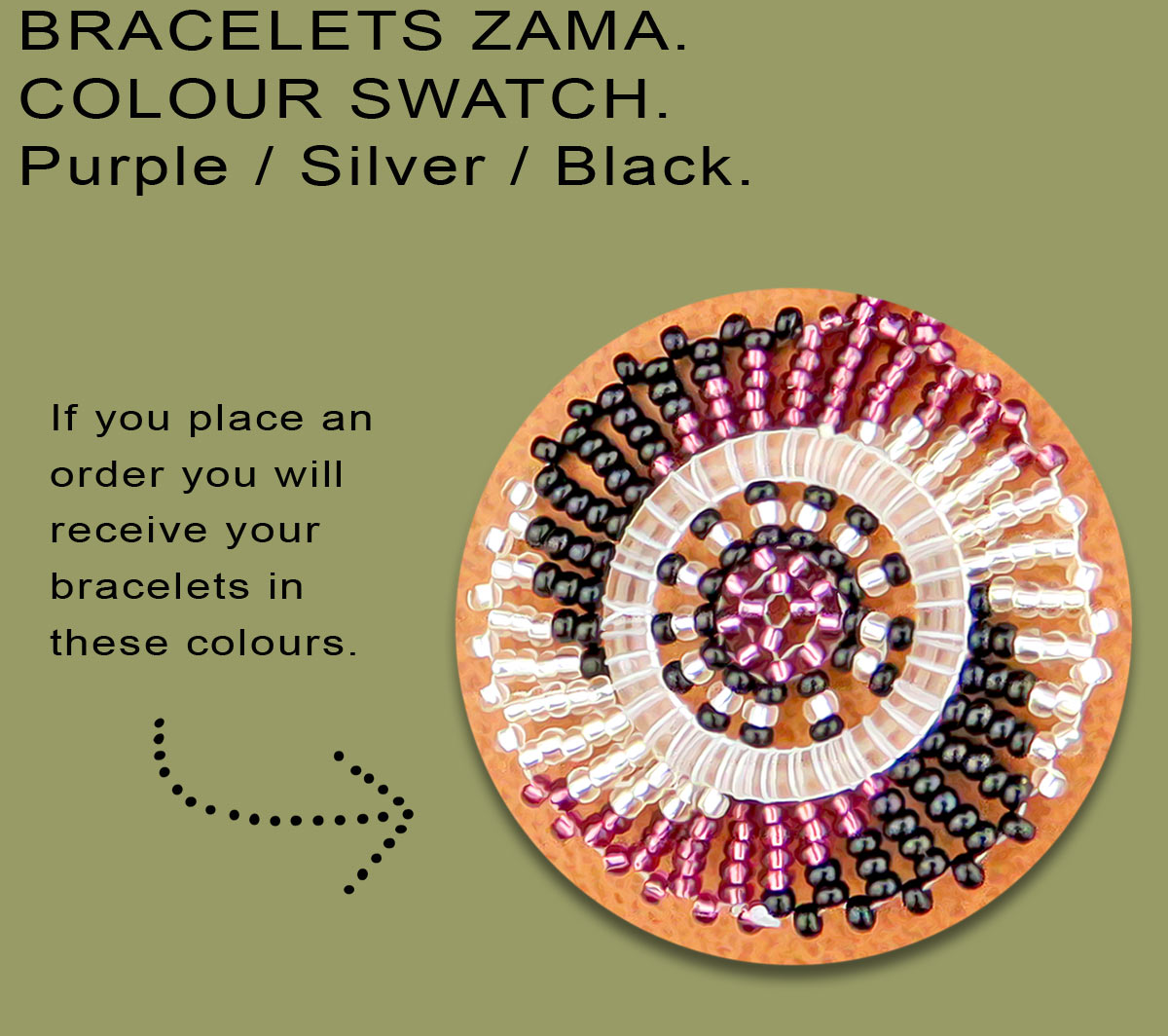 African Beaded Bracelets Zama Purple Silver Black