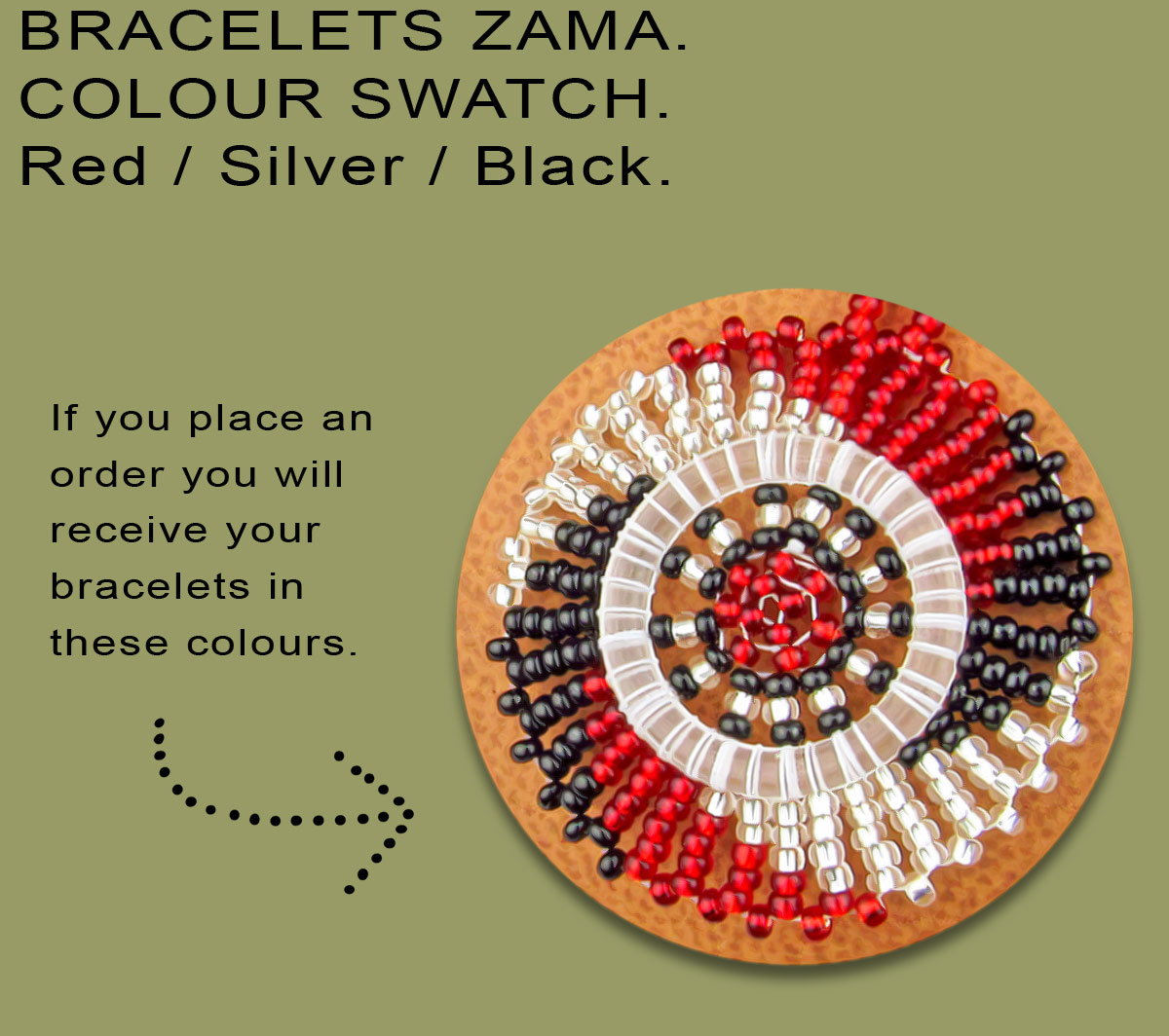 African Beaded Bracelets Zama Red Silver Black