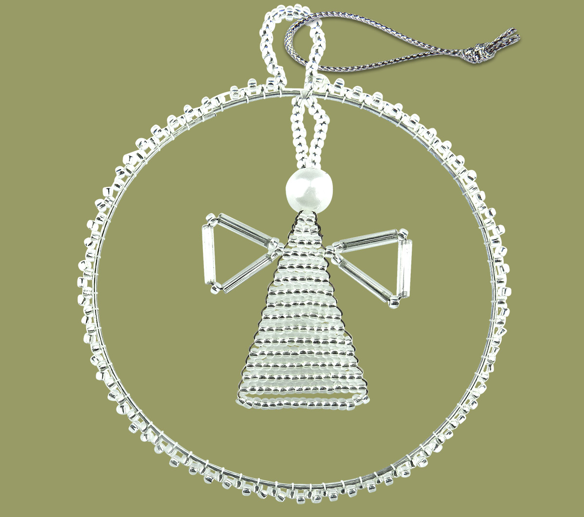 African Beaded Christmas Circle Angel Silver