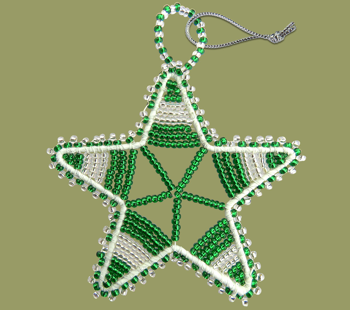 African Beaded Christmas Star.1 Silver Green