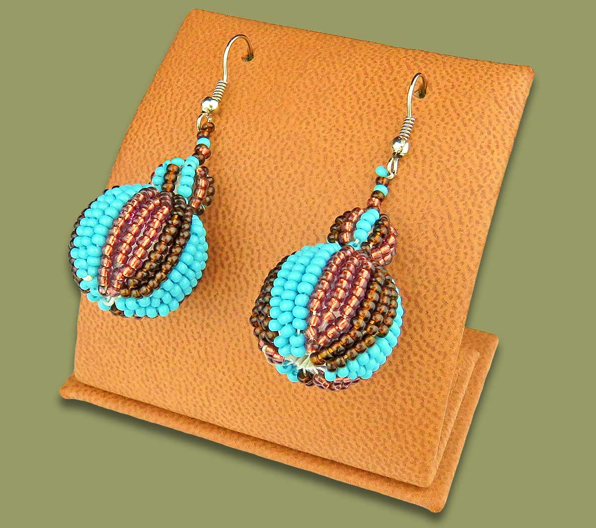 Bobble Earrings Aqua Copper Chocolate