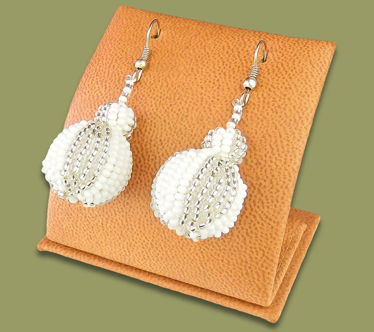 Bobble Earrings Silver White