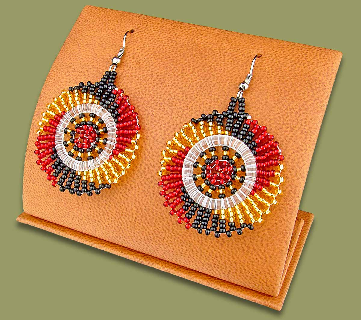 Small Circle Earrings Red Black Gold