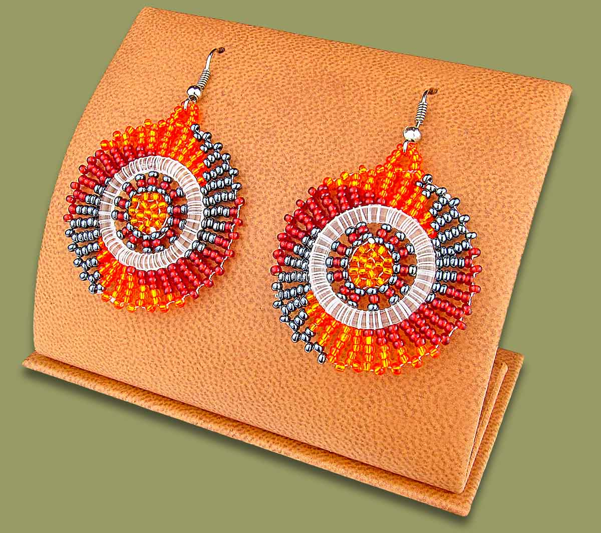 Small Circle Earrings Red Orange Metallic