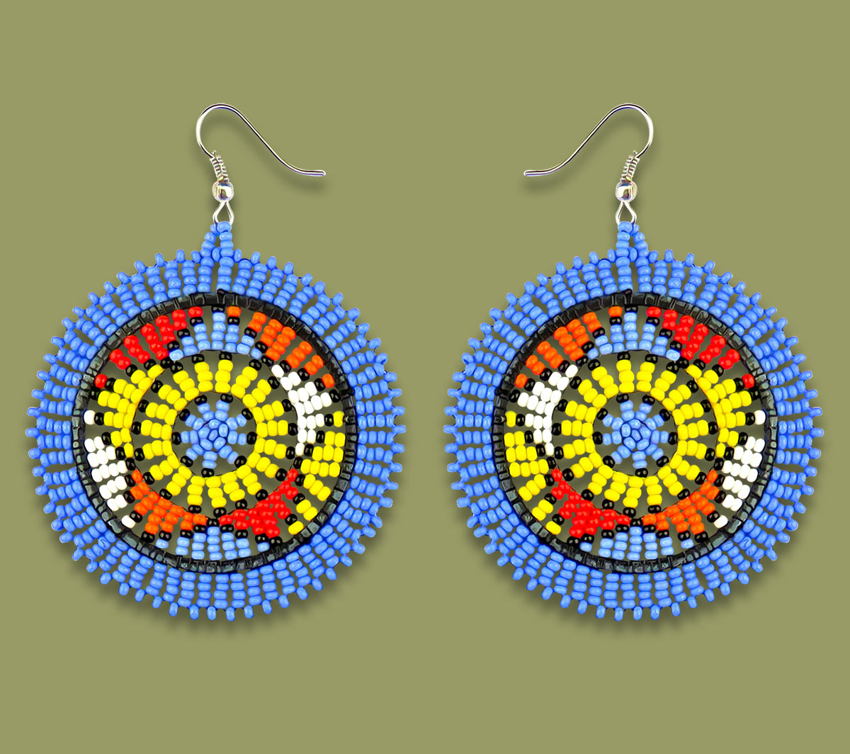 African Beaded Earrings Large Circle Light Blue