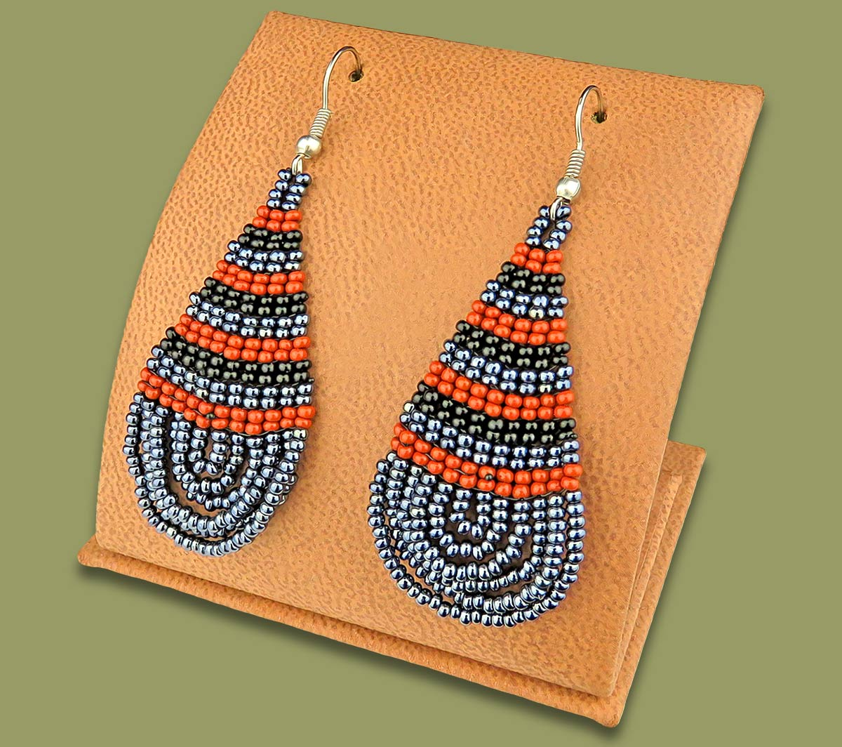 Large Beaded Ear Rings Tear Drop Brown Black Metallic