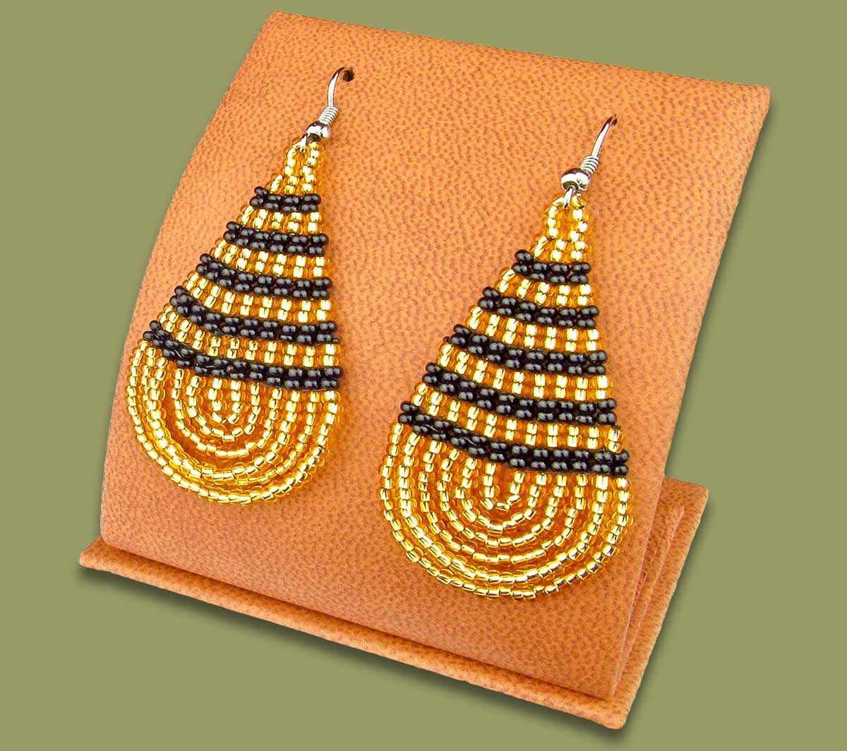 Large Beaded Ear Rings Tear Drop Gold Black