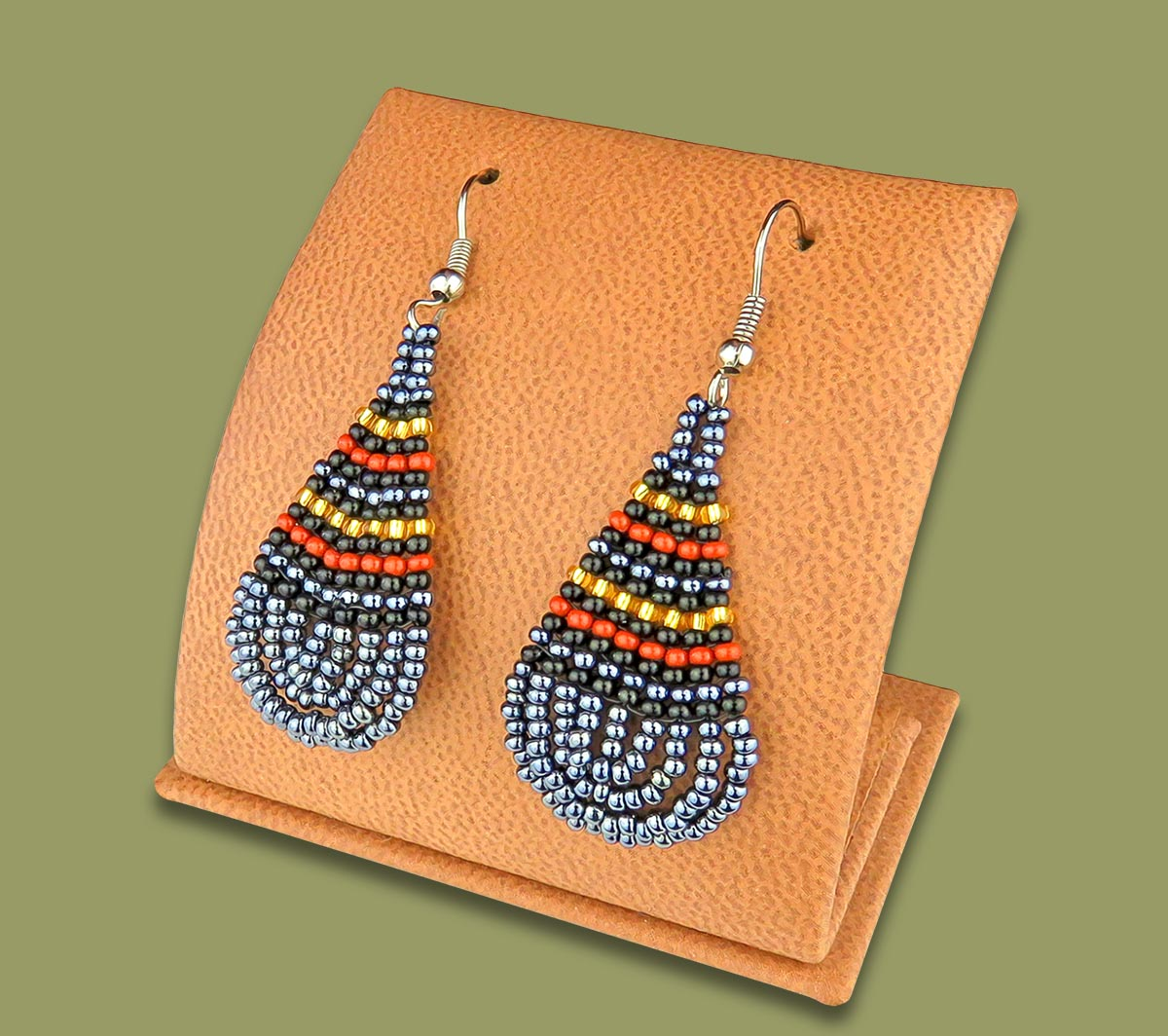 Small Beaded Ear Rings Tear Drop Metallic Gold Black Brown