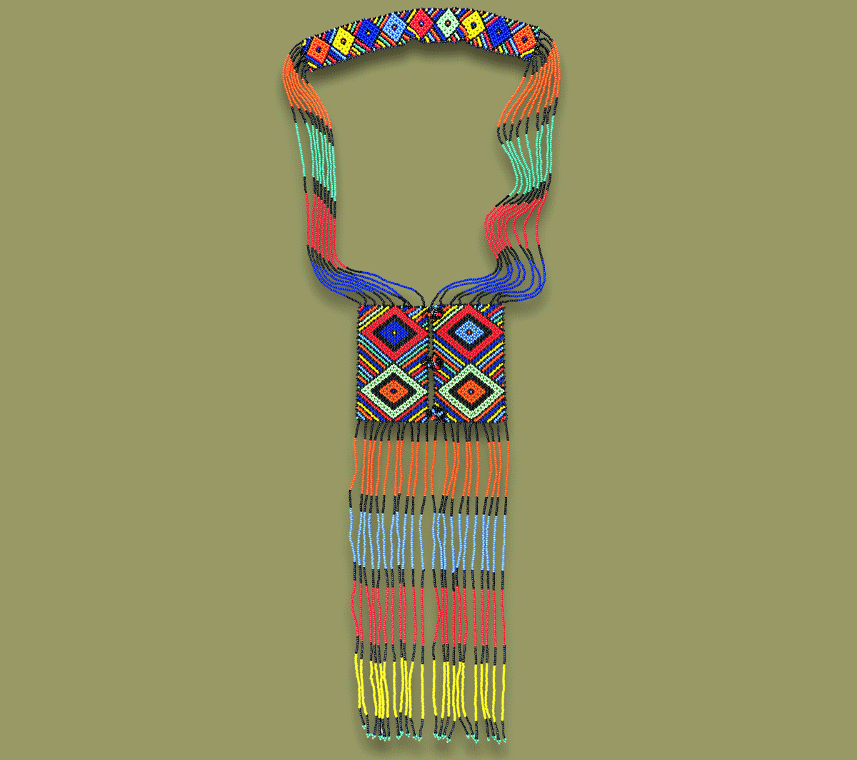 African Beaded Necklace Bahati Zulu Colours