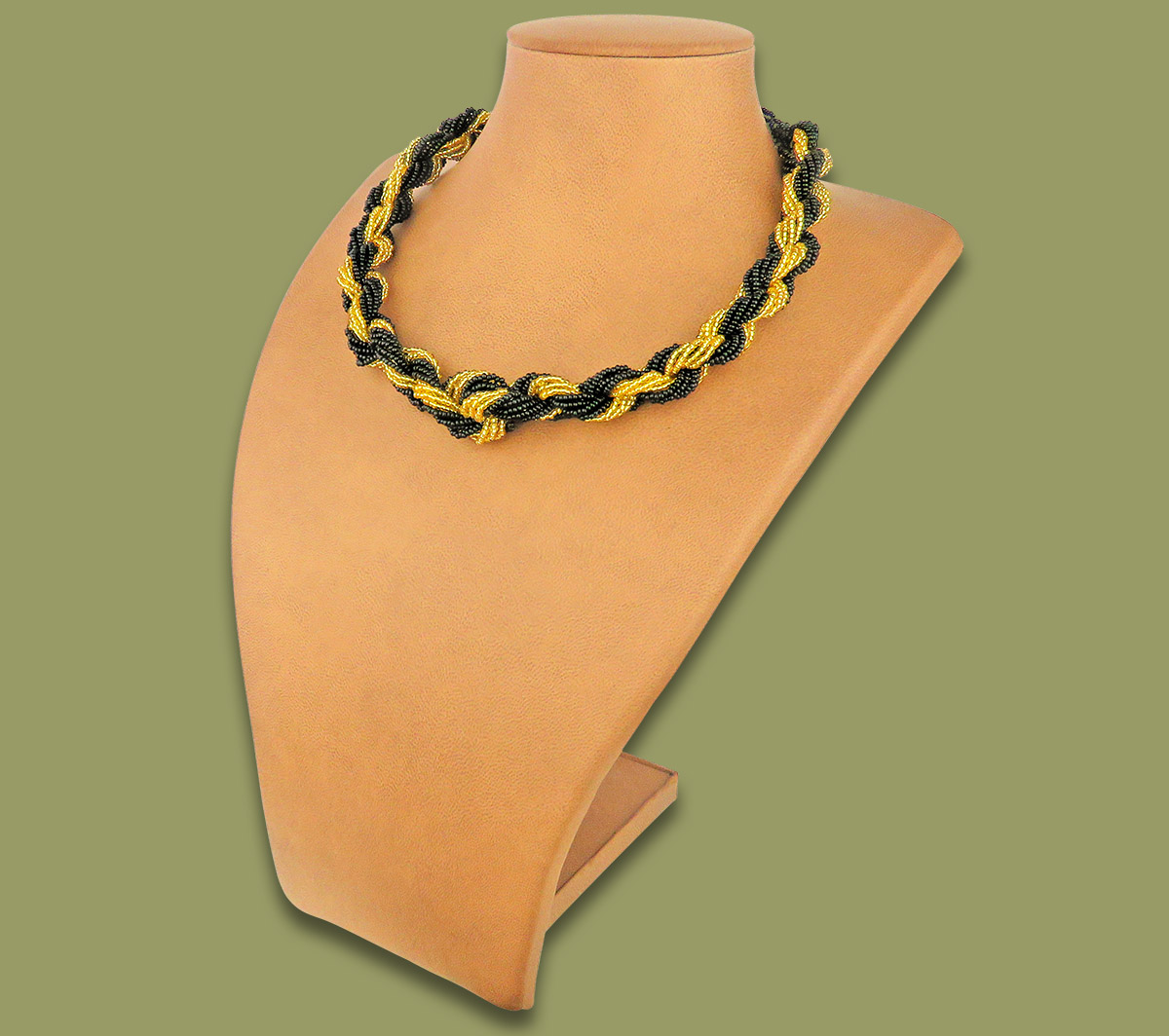 African Beaded Necklace Khanyo Gold Black