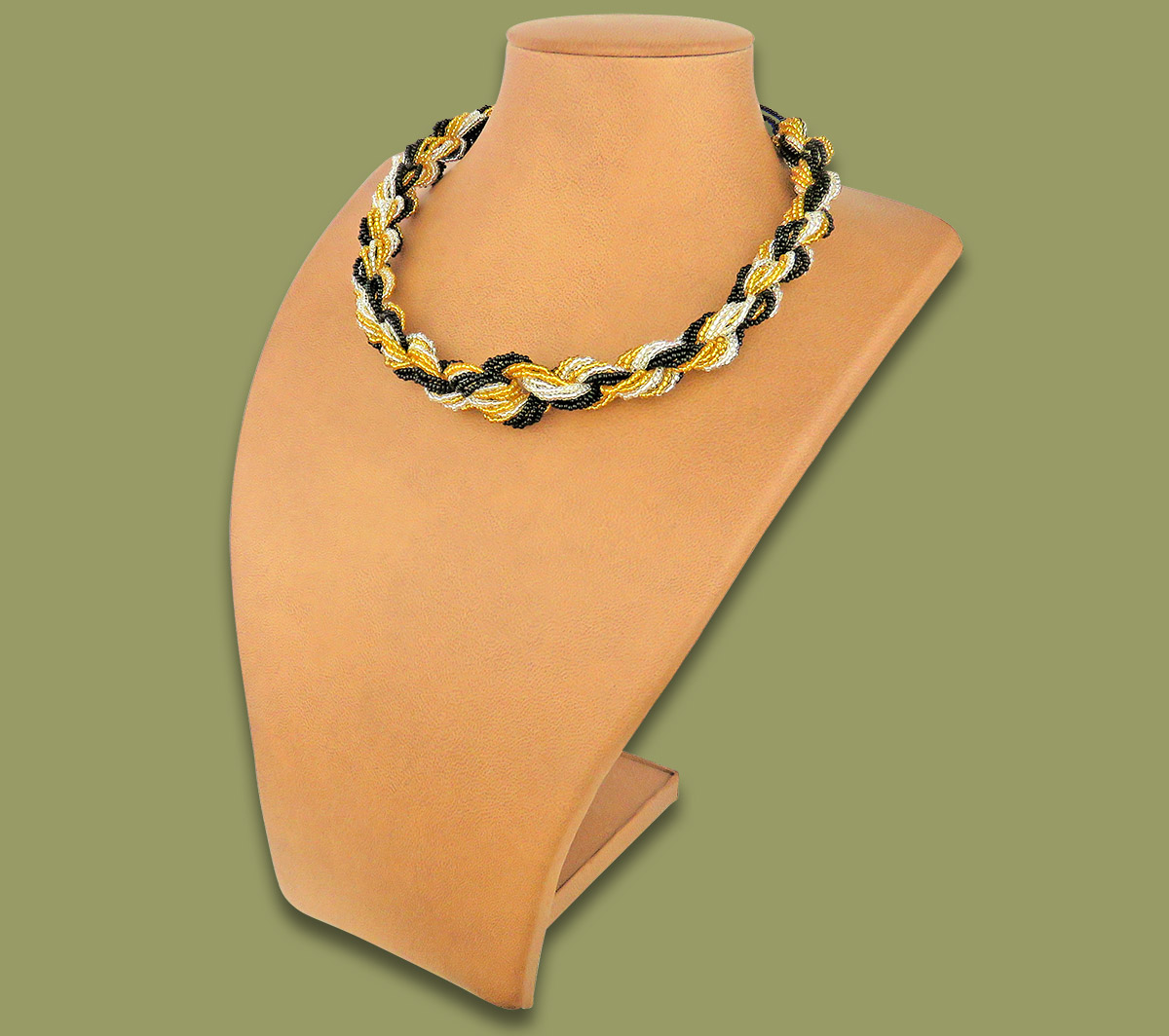 African Beaded Necklace Khanyo Gold Silver Black