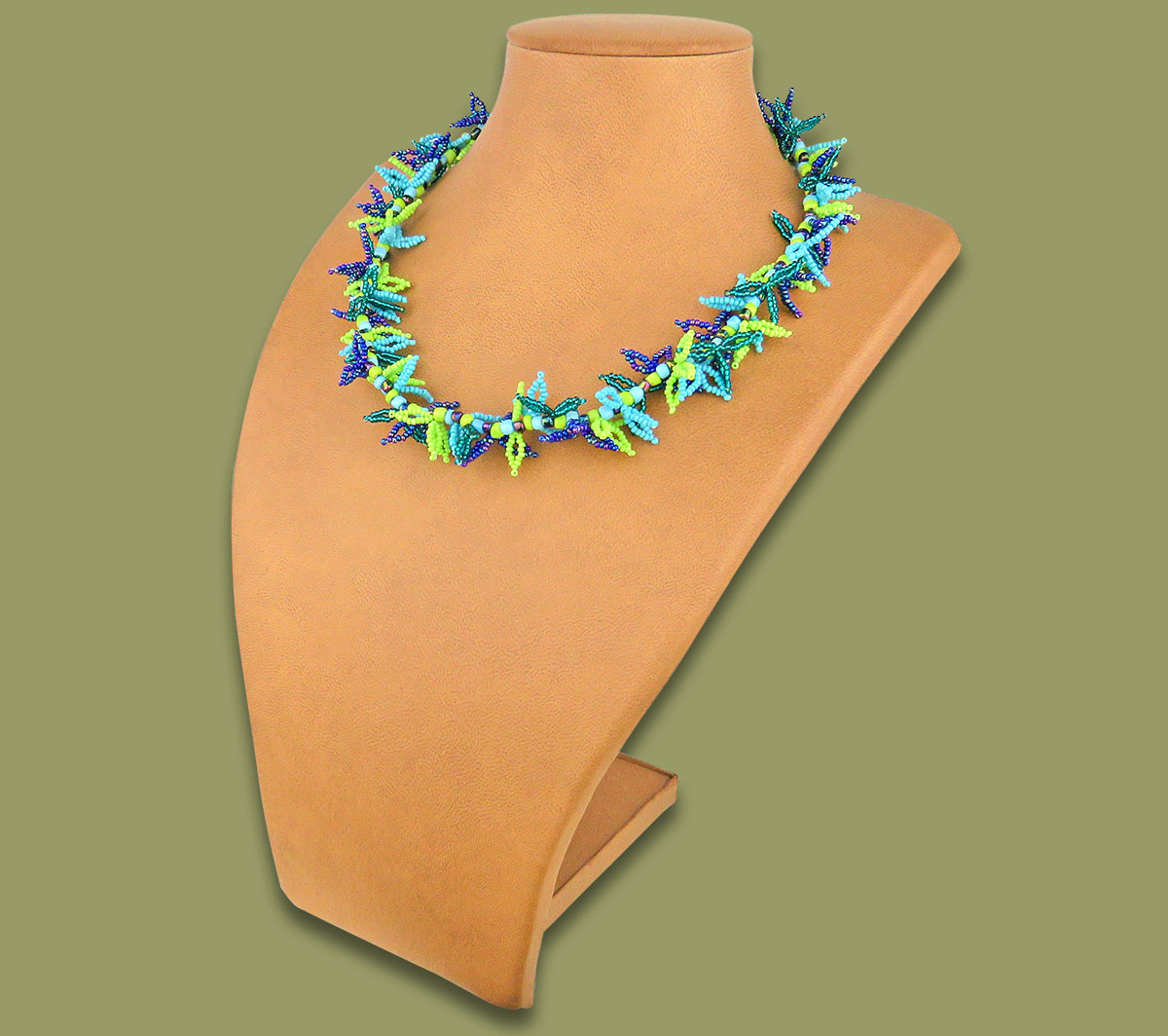African Beaded Necklace Moyo Lime Navy Blue Jade