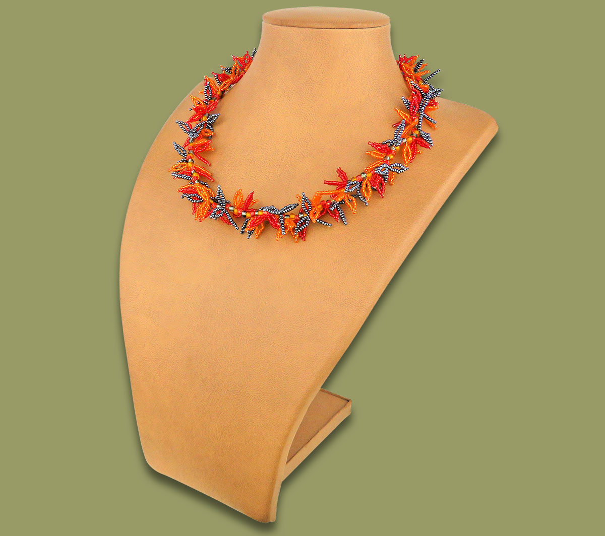 African Beaded Necklace Moyo Red Orange Metallic