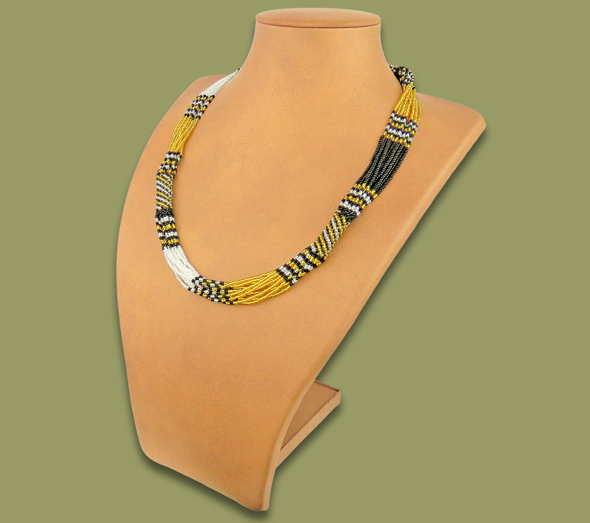 African Beaded Necklace Mvovo Gold Silver Black