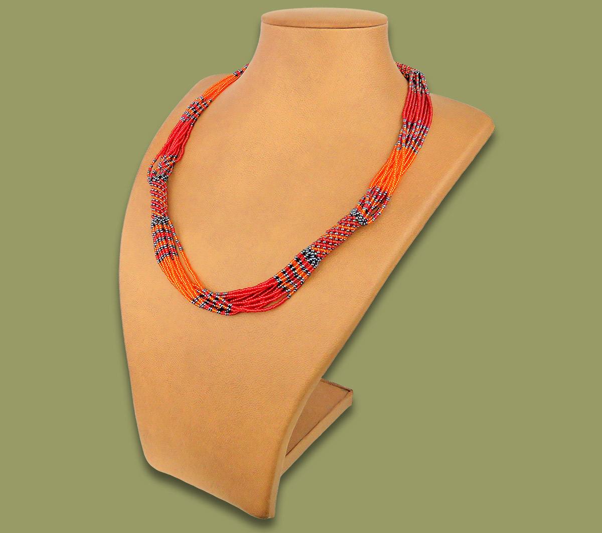 African Beaded Necklace Mvovo Red Orange Metallic