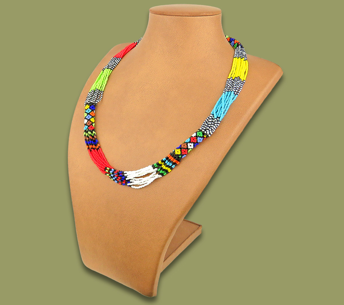 Beaded Necklace Mvovo Zulu Colors