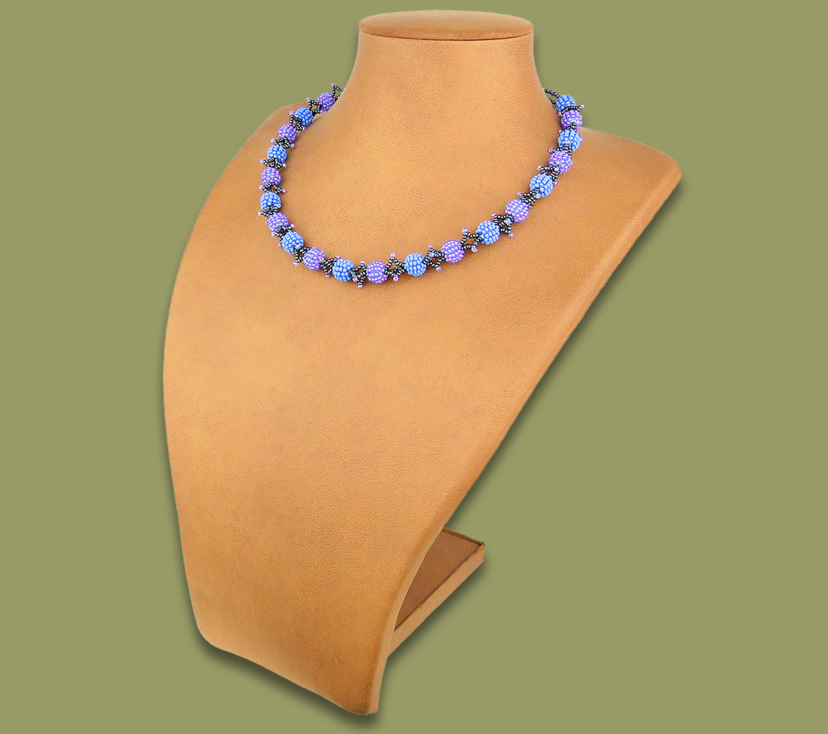 African Beaded Necklace Small Bobble Lillac Blue Metallic