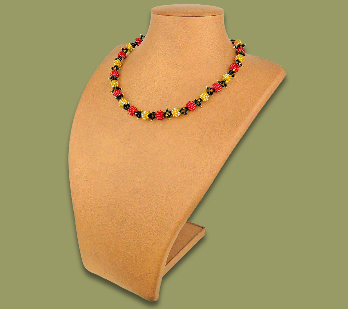 African Beaded Necklace Small Bobble Red Gold Black