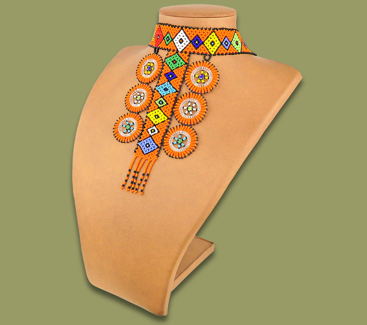 African Beaded Necklace Zulu Circle Style 1 Orange