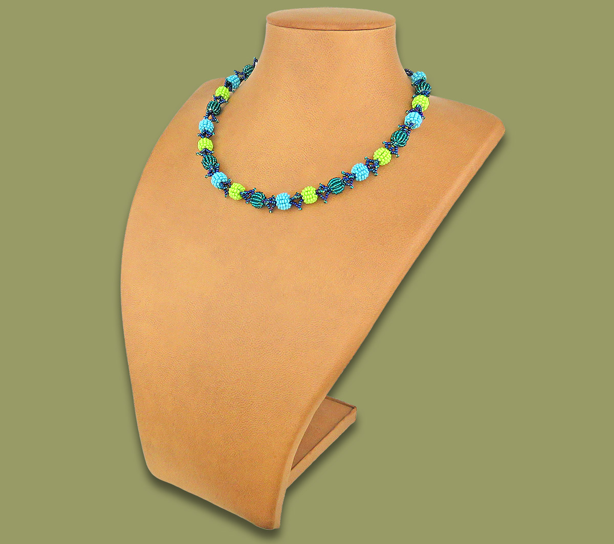 African Beaded Necklace Small Bobble Lime Navy Blue Jade