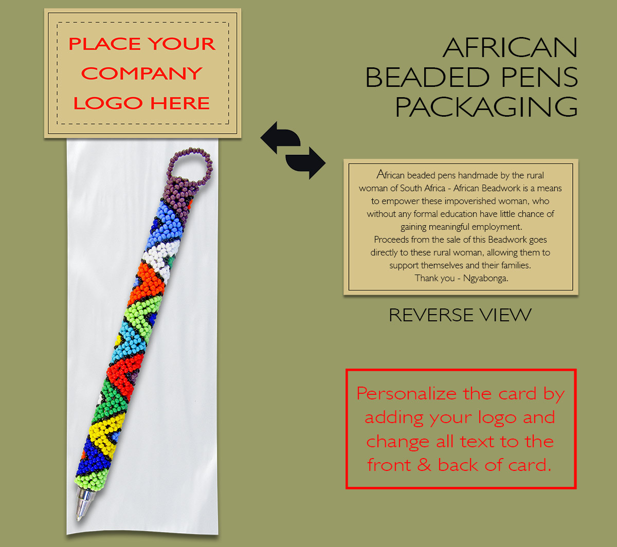 Packaging Beaded Pens Personalized