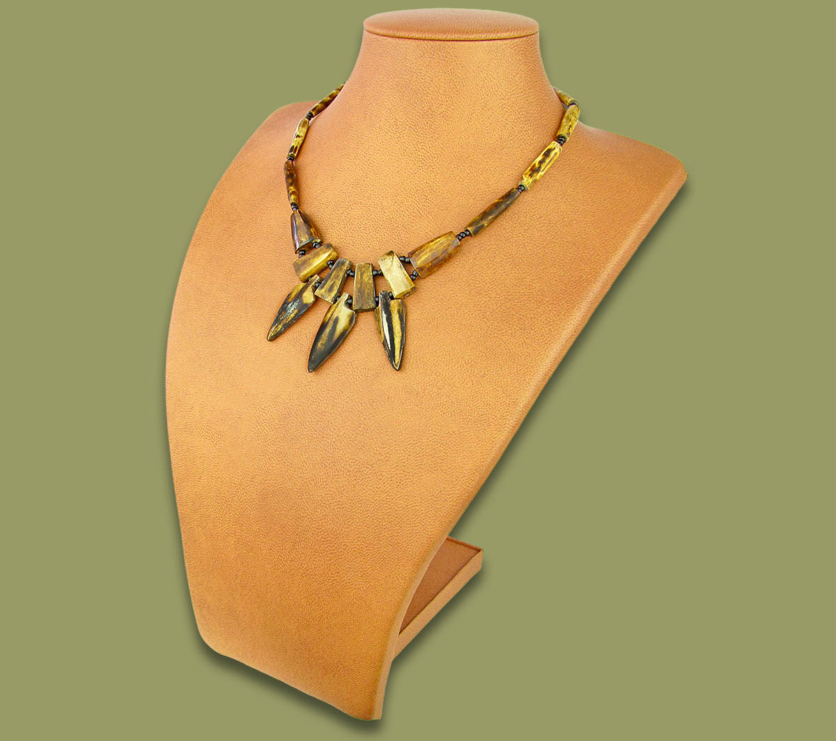 African Bone Necklace Spear Brown