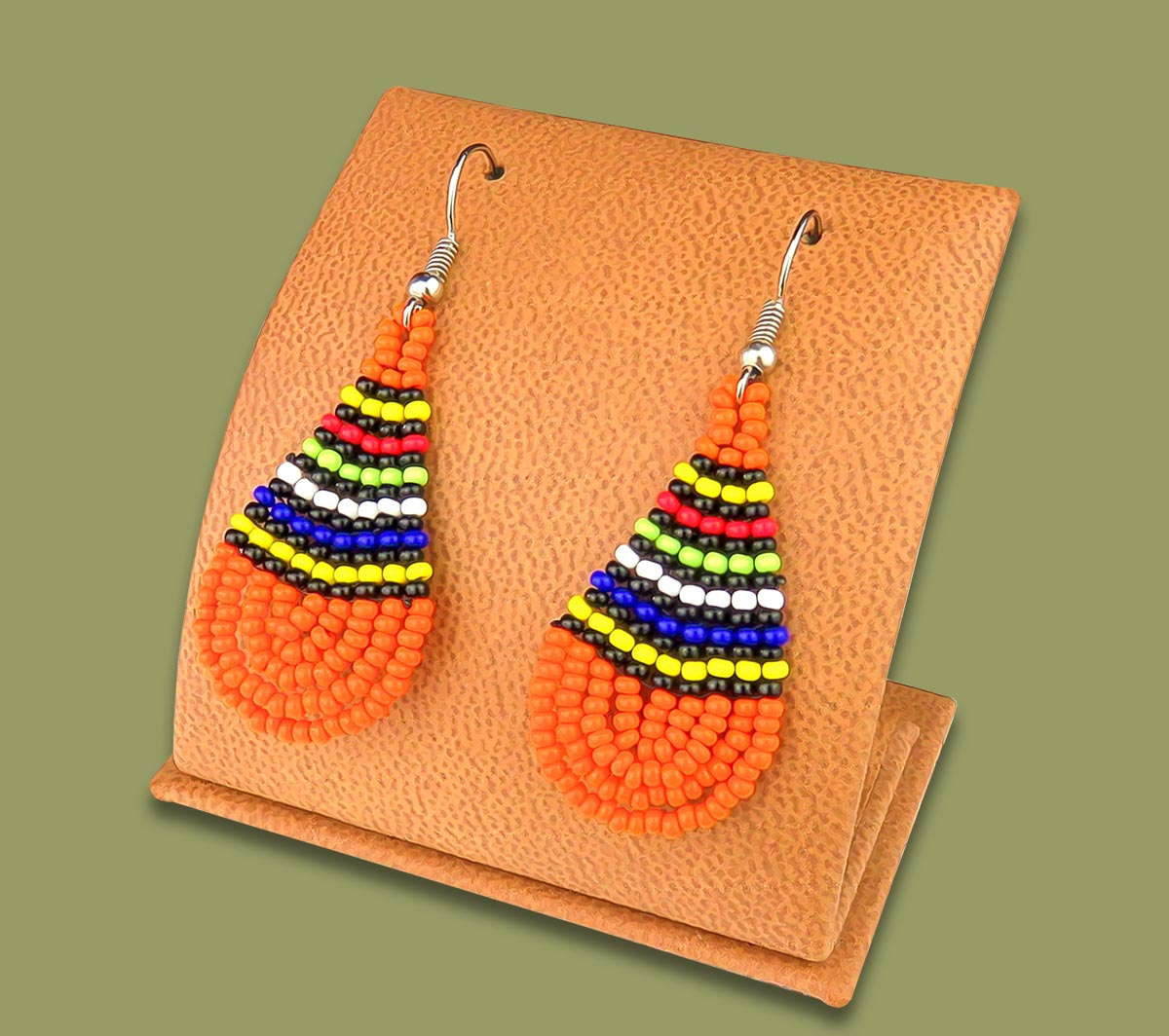African Colors Small Tear Drop Earrings Orange