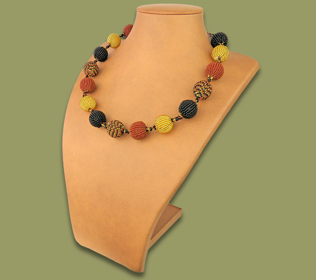 African Beaded Bobble Necklace Gold Brown Black