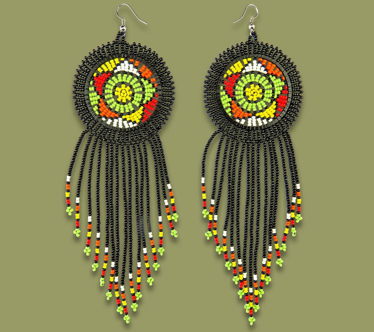 Large Circle Tassel Earrings Black