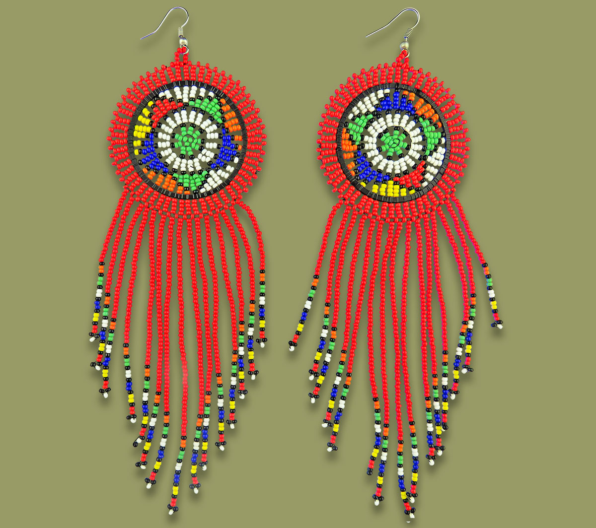 Large Circle Tassel Earrings Red
