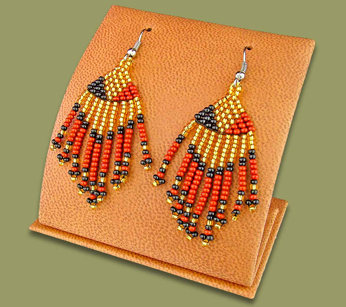Beaded Short Tassel Earrings Gold Black Brown