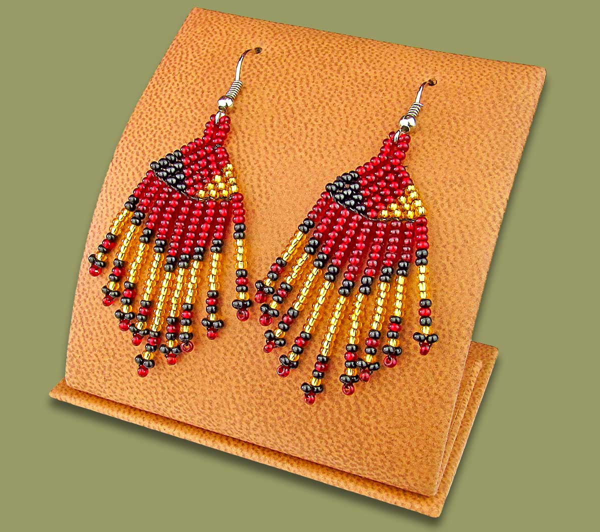 Beaded Short Tassel Earrings Red Gold Black