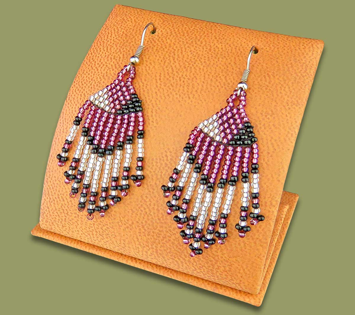 Beaded Short Tassel Earrings Purple Silver Black