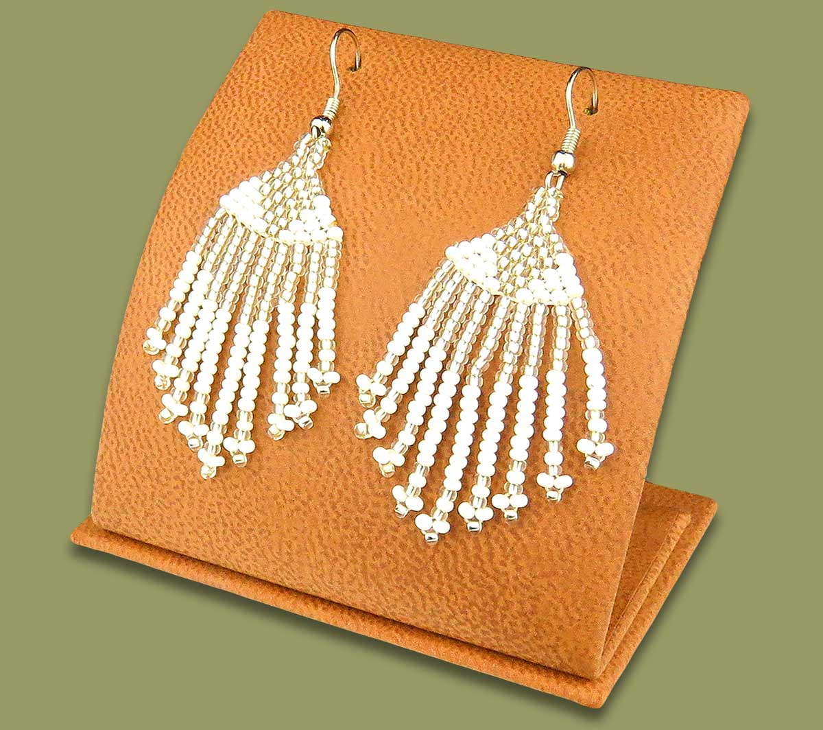 Beaded Short Tassel Earrings Silver White