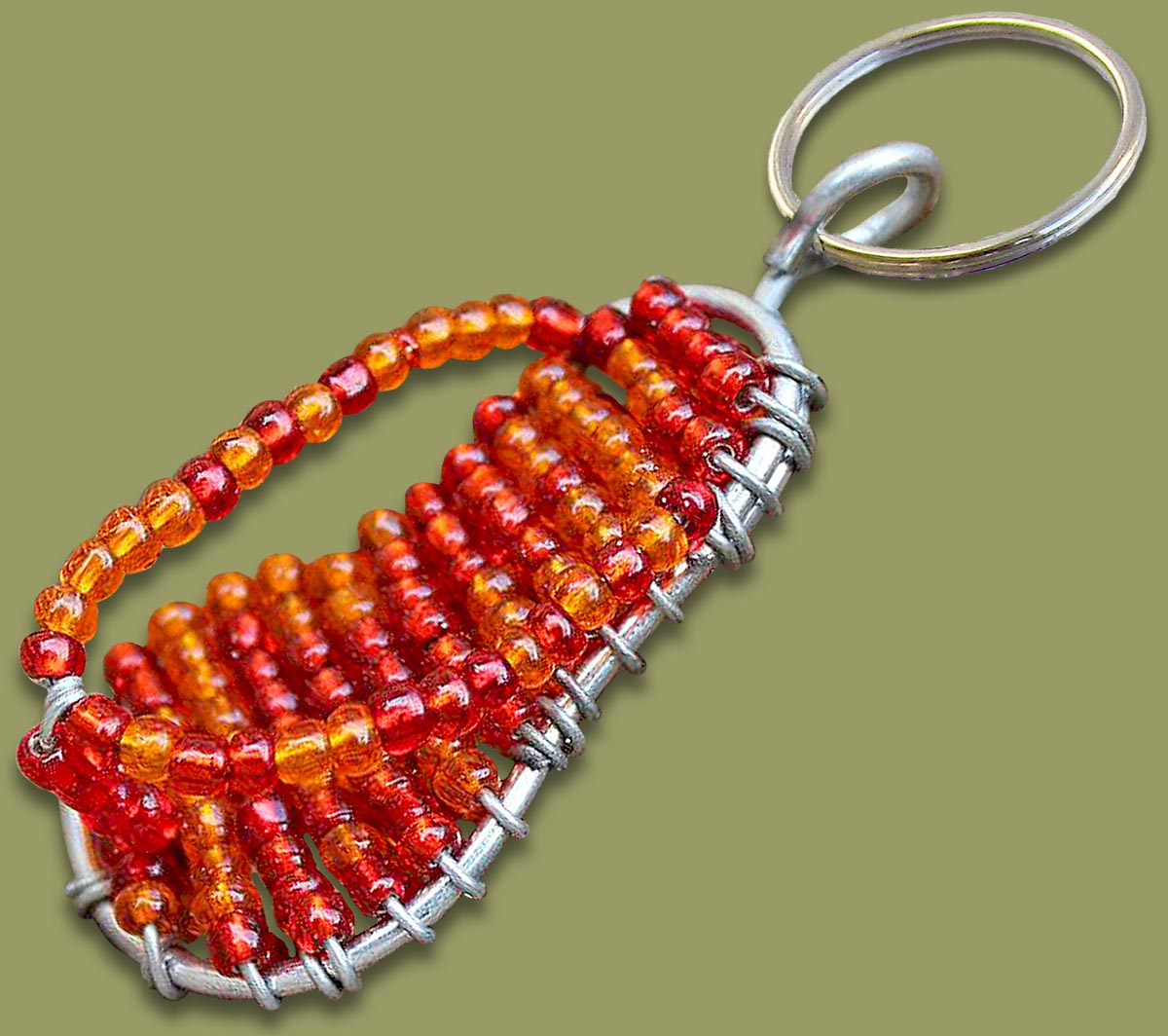 Beaded Key Ring Flip Flop