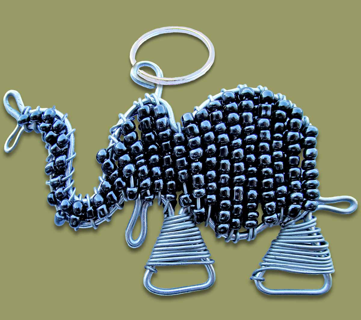 Beaded Key Ring Elephant Black