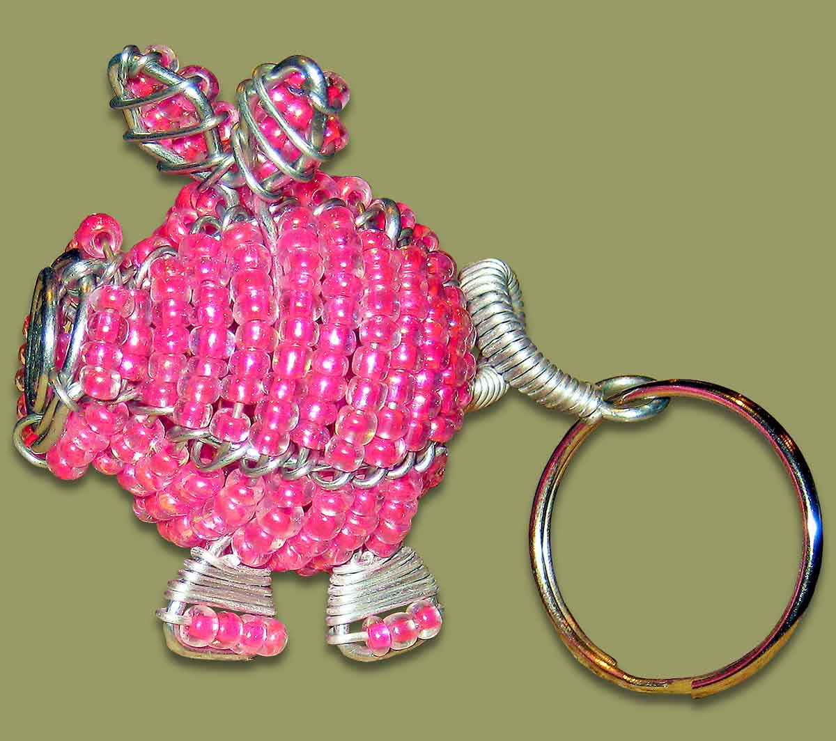 Beaded Key Ring Pig