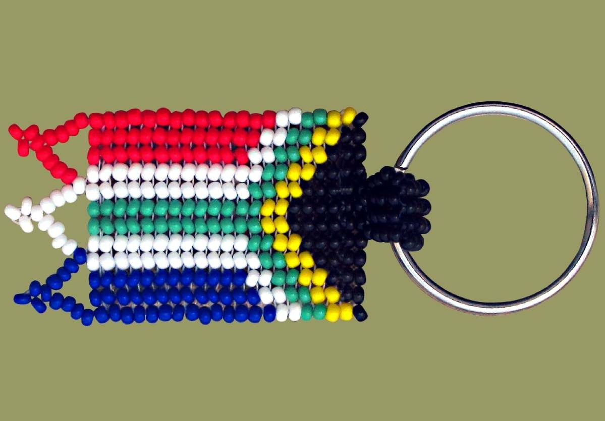 Beaded SA Flag Key ring. African Beadwork. Hand made in South Africa.
