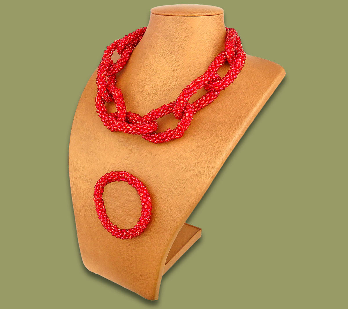 Beaded Necklace & Bangle Set Chain Red