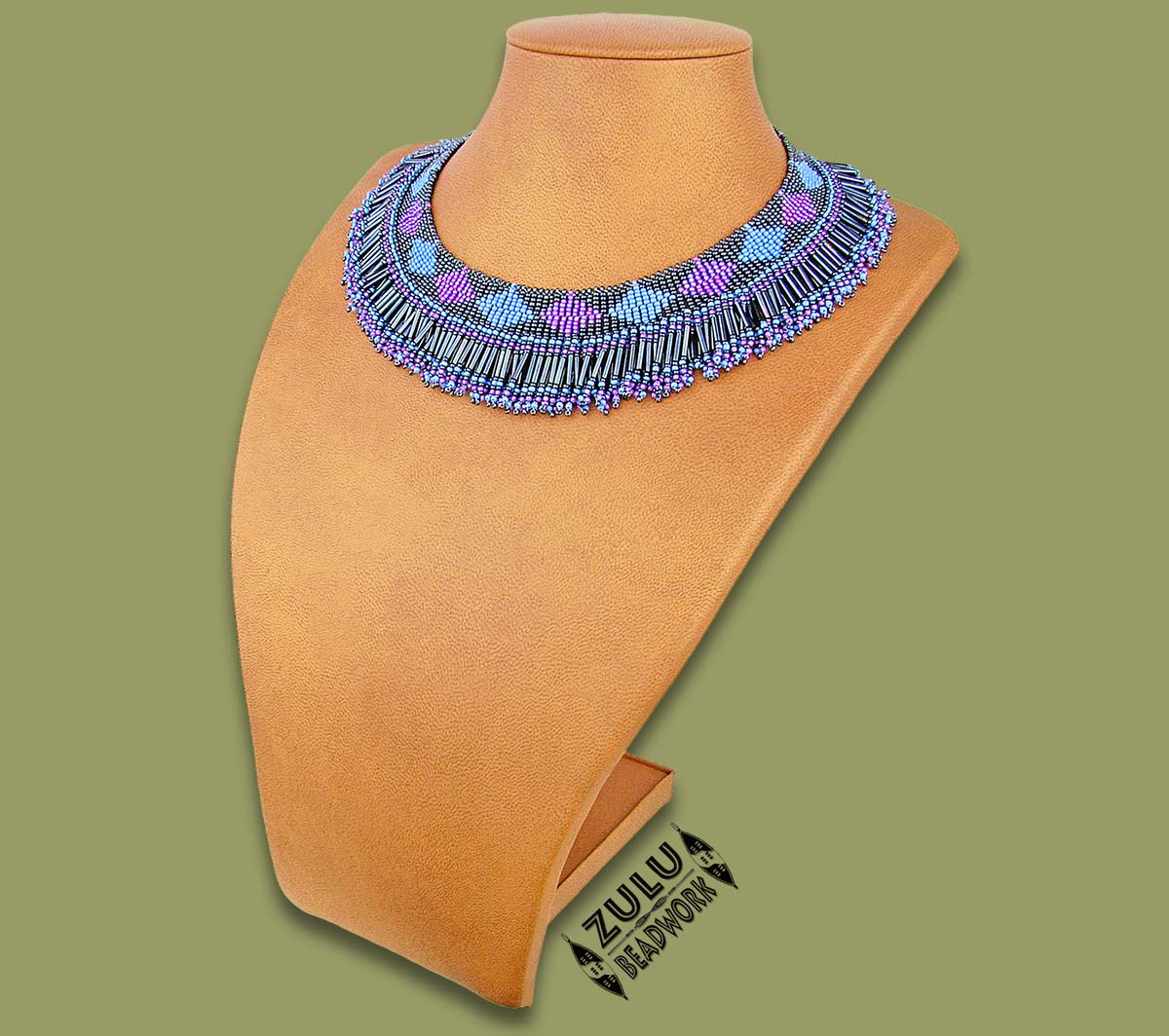 Beaded Thandi Necklace Blue Lilac Metallic