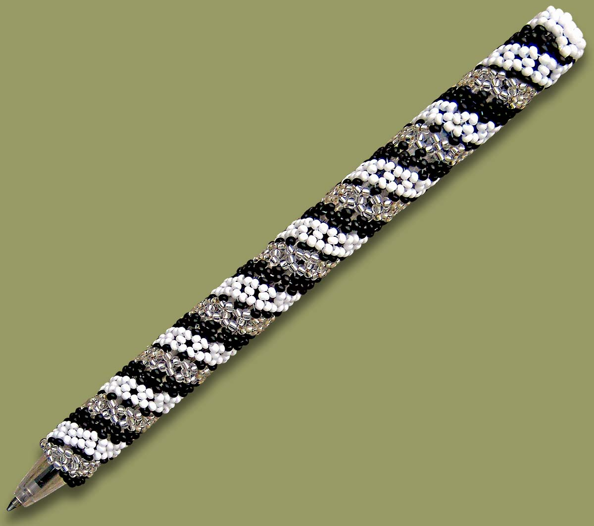 African Beaded Pen Spiral White Black Silver