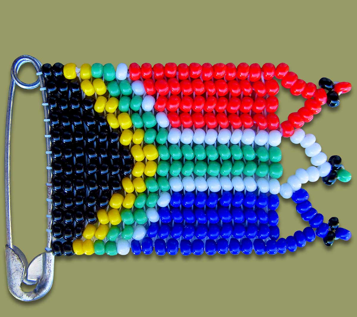 Beaded SA Flag Pin