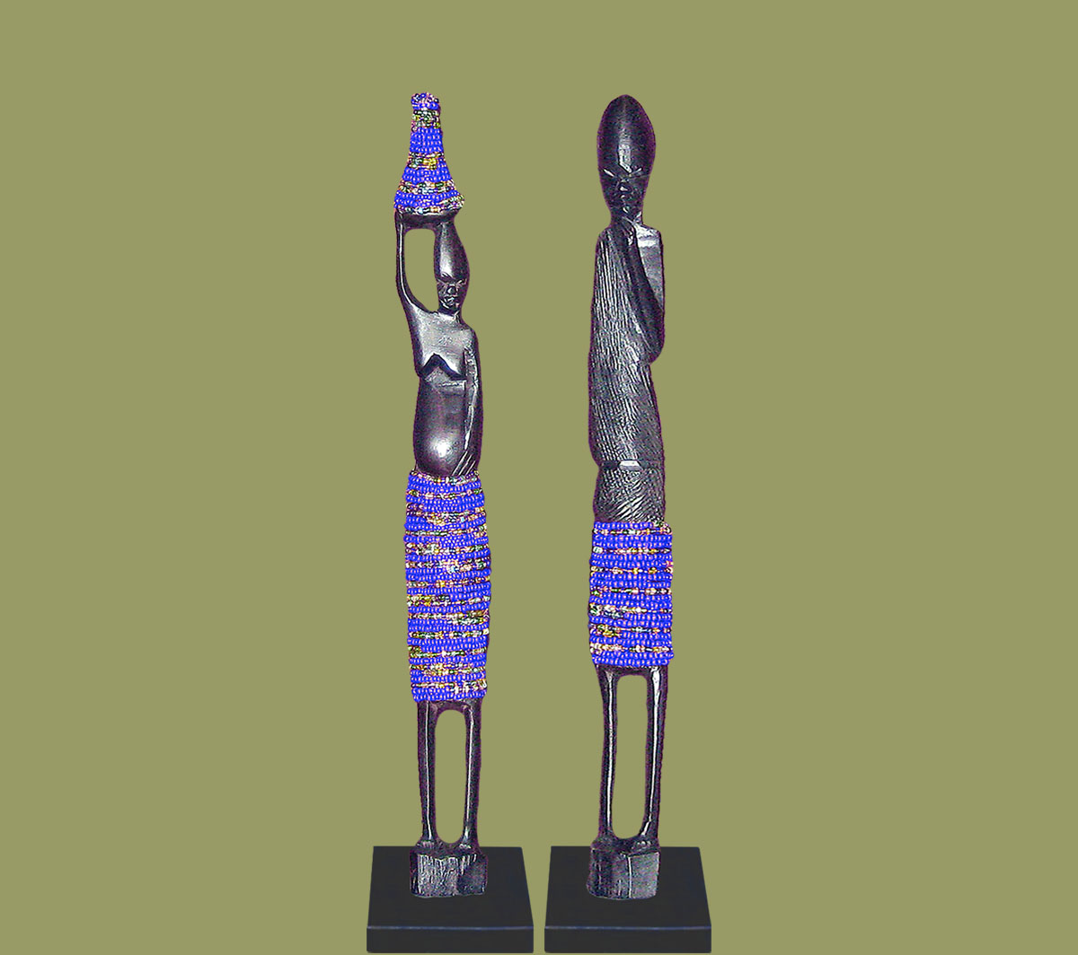 African statues beaded pair dark