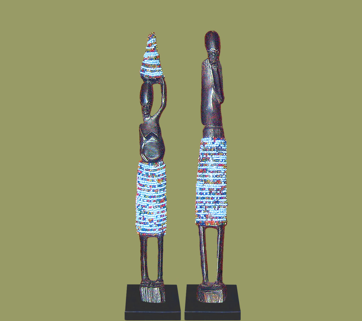 African Beaded Statues Pair Light Blue Small
