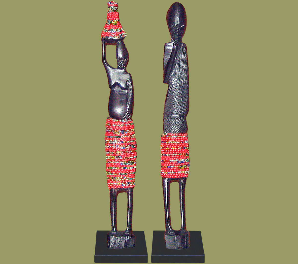 African Beaded Statues Red Large